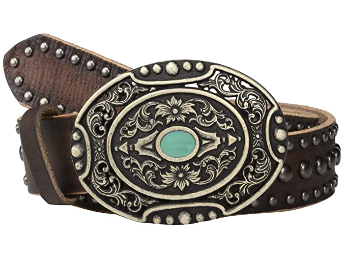Ariat Distressed Nailheads w/ Oval Buckle Belt (Brown) Women