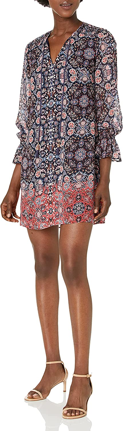Vince Camuto Women's Printed Chiffon Float Dress with Smocked Shoulders and Tassel Tie Front