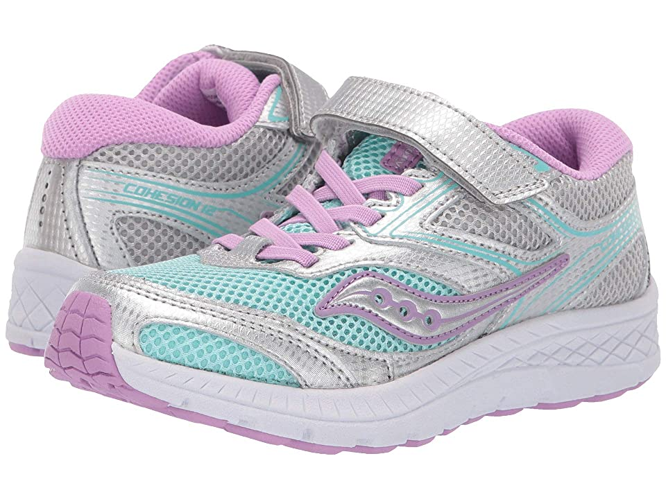 Saucony Kids Cohesion 12 A/C (Little Kid/Big Kid) (Turquiose/Silver) Girl