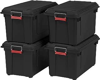 IRIS 82 Quart Weathertight Storage Box, Store-It-All Utility Tote, 4 Pack, Black