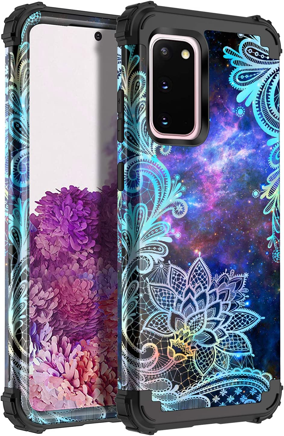 Casetego Compatible with Galaxy S20 Case,Floral Three Layer Heavy Duty Hybrid Sturdy Shockproof Full Body Protective Cover Case for Samsung Galaxy S20 6.4 inch,Blue Mandala