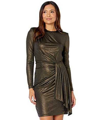 Vince Camuto Long Sleeve Dress with Ruching at Waist (Gold) Women