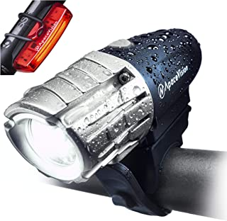 Eagle Eye USB Rechargeable Bike Light Set by Apace - Powerful 300 Lumens LED Bicycle Headlight and Tail Light - Super Brig...