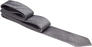 Gravata cinza claro com quadrados e traços pretos