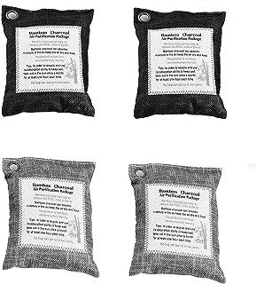 LEASEN Sacs De Purification d'air, 4 Paquets De Sac Bambou Charbon Desodorisant Activé Naturel pour Réfrigérateur, Voiture...
