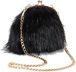 FHQHTH Faux Fur Purse Fashion Handbag Shoulder Vintage Evening Bags for Women