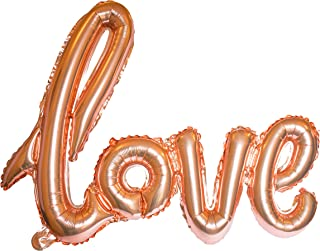 Love Balloon Rose Gold Pink Letter Banner Writing Script Handwriting Foil Decorations Valentines Wedding Romantic Gifts Balloon Anniversary Decor Bridal Shower or Birthday Marry Party Christmas Day