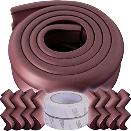 Baby Proofing Corner Guards with Eight Corners and Four Meters Edges, Non-Toxic, Soft with Thick Foam (Brown)