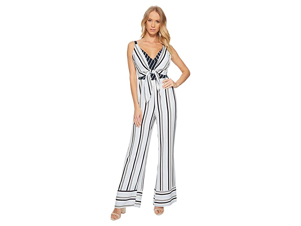 Image of Adelyn Rae Ava Jumpsuit (White/Blue) Women's Jumpsuit & Rompers One Piece