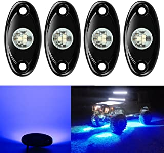 4 Pods LED Rock Lights, Ampper Waterproof LED Neon Underglow Light for Car Truck ATV UTV SUV Offroad Boat Underbody Glow T...