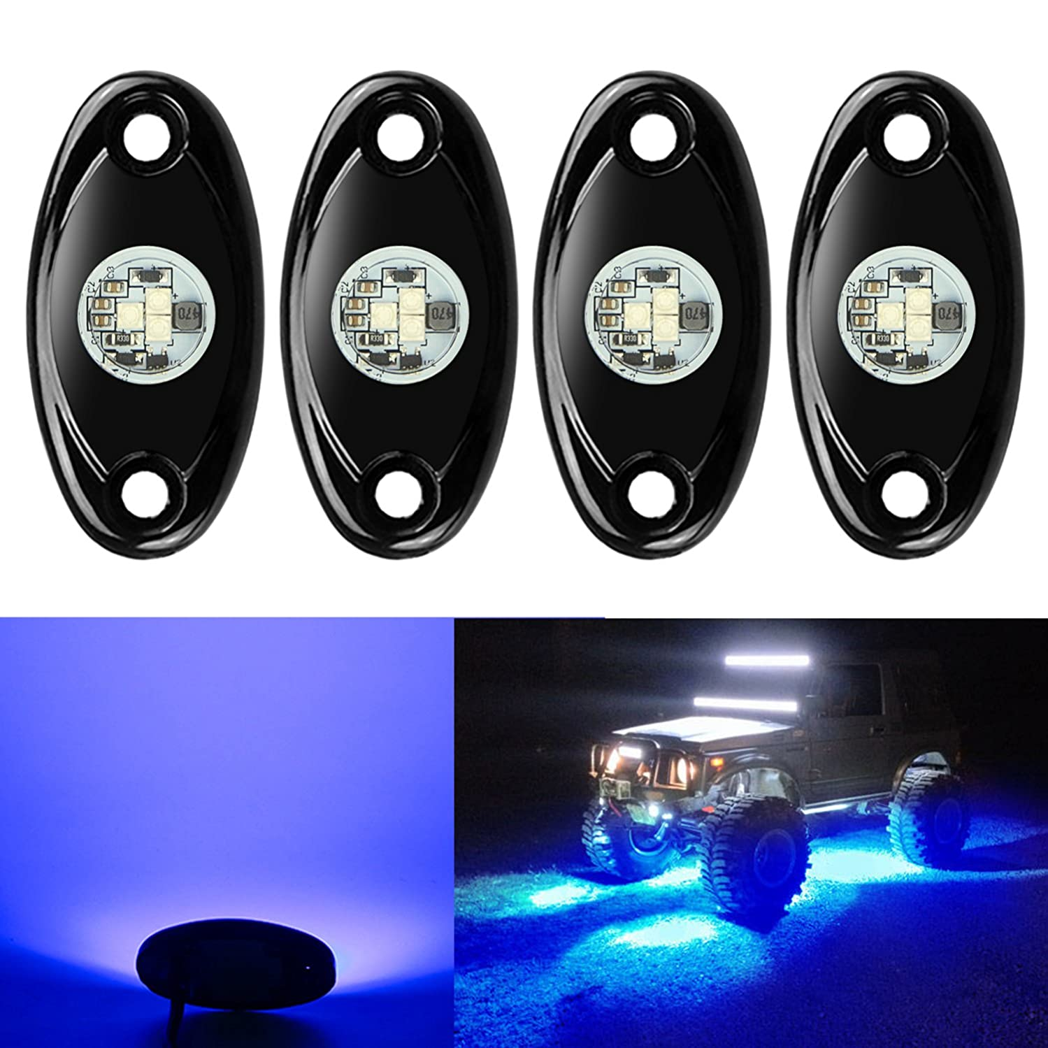 4 Pods LED Rock Lights, Ampper Waterproof LED Neon Underglow Light for Car Truck ATV UTV SUV Jeep Offroad Boat Underbody Glow Trail Rig Lamp (Blue)