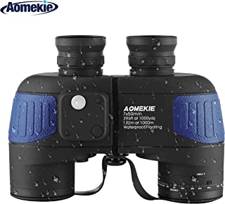 AOMEKIE 双眼鏡 7倍 防水 防振 距離計 ナイトビジョン コンパス 付き 軍用 航海 BAK4プリズム 自動フォーカス