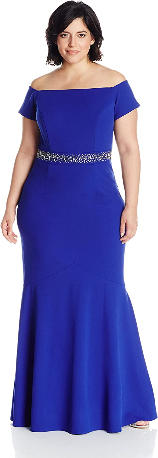 Alex Evenings Womens PlusSize Long Off The Shoulder Fit and Flare Dress with Beaded Waist Dress