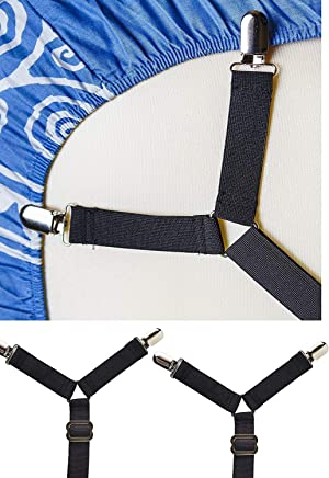 Rareccy Bed Sheet Holder Straps,  Adjustable Bed Sheet Fastener and Triangle Elastic Mattress Sheet Clips Suspenders Grippers Fasteners Heavy Duty Keeping Sheets Place for Bedding Mattress (4 PCS)