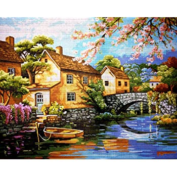 hudemas Needlepoint kit The Water Mill 27x21in 70x54cm Printed Canvas 701