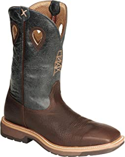 Steel Toe Lite Cowboy Work Boots for Men, Distressed Saddle/Cherry