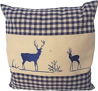 Enstaka kudde blå rutig med hjortbroderi fylld med stenflingor 100% Alperna Zirbenwood i Extra Inlett storlek 40x40cm