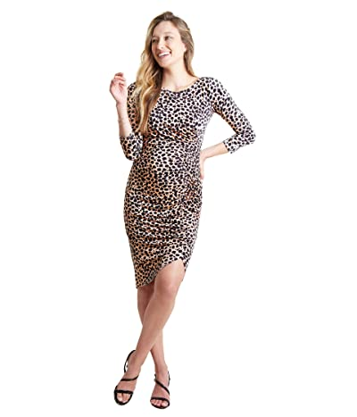 Ingrid & Isabel Maternity 3/4 Sleeve Front Shirred Dress (Taupe Leopard Print) Women