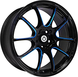 Konig Illusion Black Ball Cut Blue Wheel (17x7