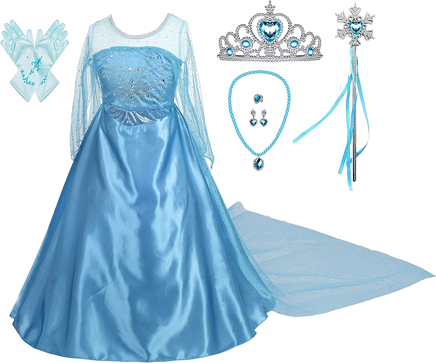 Lito Angels Girls Princess Dress Up Costumes Snow Queen Dress Halloween Christmas Costume with Accessories