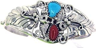 USA Made By Navajo Artist Rebecca Dawes Genuine Navajo Turquoise-Coral Women's Bracelet