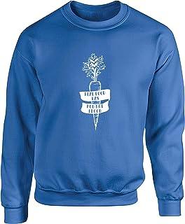 Hippowarehouse Real Food has mud not Blood - Vegan Unisex Jumper Sweatshirt Pullover (Specific Size Guide in Description)