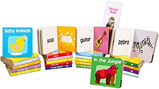 My First Board Books Set Toddlers Babies - Pack of 24 Mini Board Book Blocks with Stickers (Colors, Feelings, Shapes, and ...