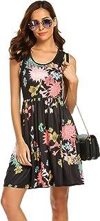 SimpleFun Womens Summer Floral Tank Dress Casual Beach Sleeveless Sundress A-Line Mini Dresses
