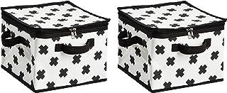 Amazon Basics Canvas Zippered Storage Bag - Black/White, 2-Pack