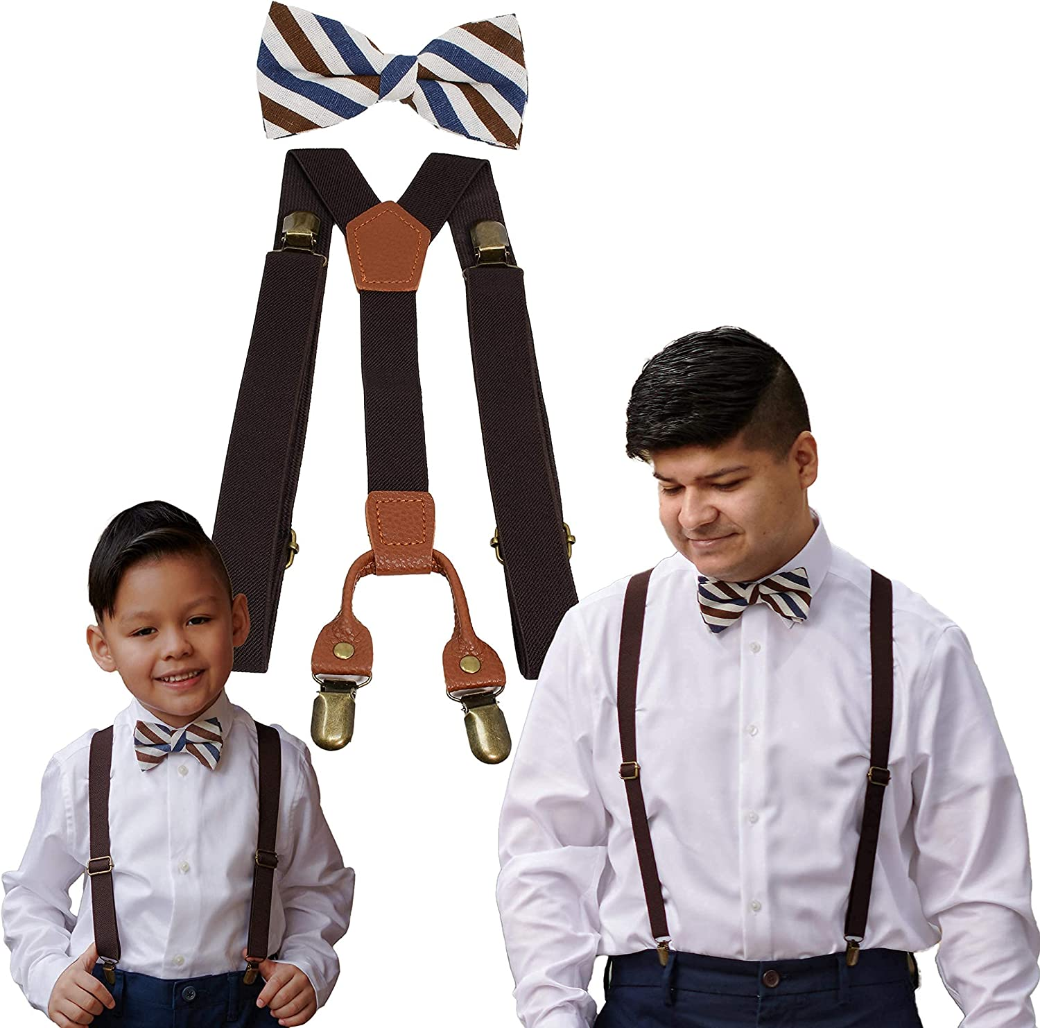 Suspenders and Bow Tie Set Adjustable Bundle for Dad and Son (Brown with Brown/Blue Bowtie)
