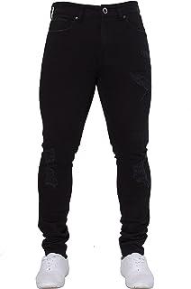 New ENZO Mens Skinny Super Stretch Fit Ripped Denim Jeans All Waist