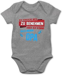 Shirtracer Ich versuche Mich zu benehmen Aber ich komme nach Meinem Opa - Baby Body Kurzarm für Jungen und Mädchen