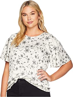 Plus Size Ruffled Short Sleeve Faux Stitch Floral Blouse