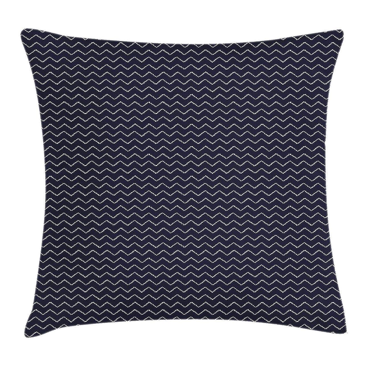 バイナリ記者むき出しNavy Blue Pillow case Chevron Zigzag Ropes Ornamental Arrangement Herringbone Pattern Illustration 18 X 18 inches