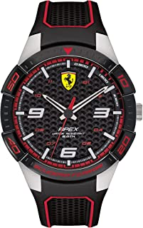 Ferrari Mens Quartz Watch, Analog Display and Rubber Strap 830630