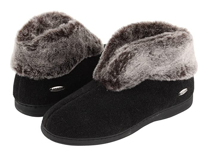 Acorn  Faux Chinchilla Bootie II (Black) Womens  Boots