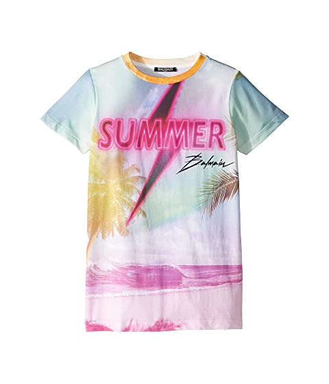 Balmain Kids Short Sleeve Summer Balmain Tee (Big Kids)