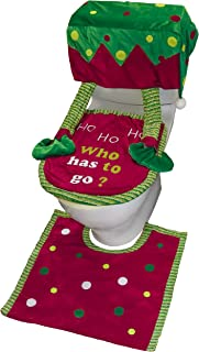 Valery Madelyn 3 Pack Delightful Elf Christmas Toilet Seat Cover and Rug Set for Bathroom Decorations and Christmas Festival, Themed with Chair Covers (Not Included)