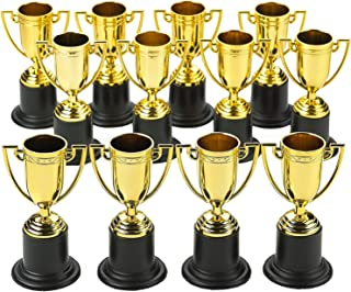 Kicko Plastic Trophies - 24 Pack 4 Inch Cup Golden Trophies for Children, Competitions, Awards, Parties, Party Favors, Pro...
