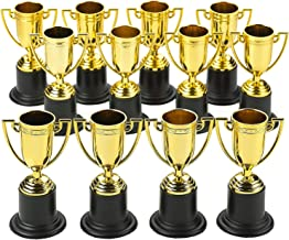 Kicko Plastic Trophies - 24 Pack 4 Inch Cup Golden Trophies for Children, Competitions, Awards, Parties, Party Favors, Props, Rewards, Prizes, Games, School, Field Day, Boys and Girls