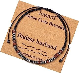 Badass Husband Morse Code Bracelets for Men Husband Birthday Christmas Jewelry Gifts Cord Wrap Wood Strand Warp Beads Brac...