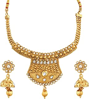 Crunchy Fashion Royal Bling Bollywood Style Traditional Indian Jewelry Necklace Set with Earrings for Women