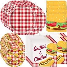 Unique Burger BBQ Picnic Party Supplies Bundle | Paper Plates and Napkins