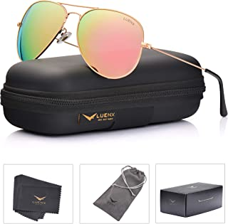 LUENX Aviator Womens Mens Sunglasses Polarized Pink...