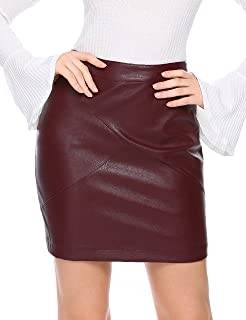 Best dark red leather pencil skirt Reviews