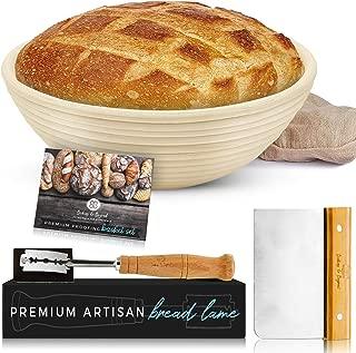 Baking & Beyond Banneton Proofing Basket (9 inch) Bundle with Brotform Linen Liner, Dough Scraper, Scoring Lame & 5 Blades - Sourdough Starter Kit for Artisan Bread Baking – A Novel Bakers Gift