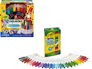 Crayola 50-Count Pip-Squeaks Marker Tower Bundle with Crayola 50-Count Super Tips Washable Markers