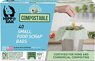 Hippo Sak Compostable Small Food Scrap Bags, 40 Count with Dispenser