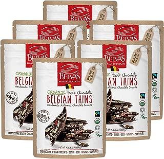 Belvas Belgian Thins Organic Dark Chocolate with Quinoa and Goji, 4.23 oz - 6Pk