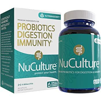 NuCulture Shelf Stable Premium Probiotic & Prebiotic for Adults, Supports Immune System and Digestion, 5 Strains, 15 Billion CFUs, 1-Pack (30 ct)